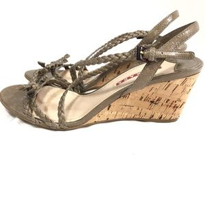 Prada Taupe Braided Leather Cork Wedges